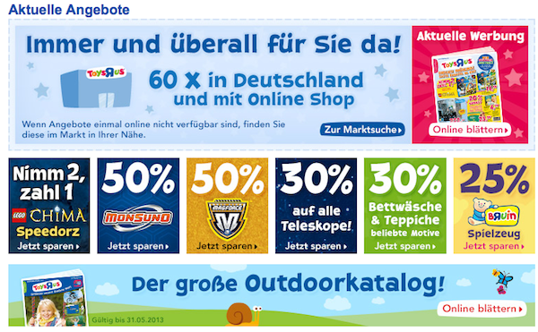 Angebte bei Toys R Us